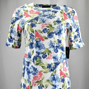 !!Karen Scott Short Sleeve BRIGHT Floral Top!!